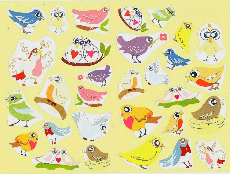 30 Gommettes Oiseaux du Jardin
