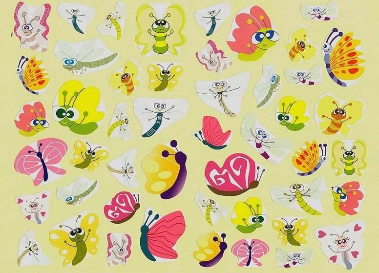 47 Gommettes Papillons et Libellules