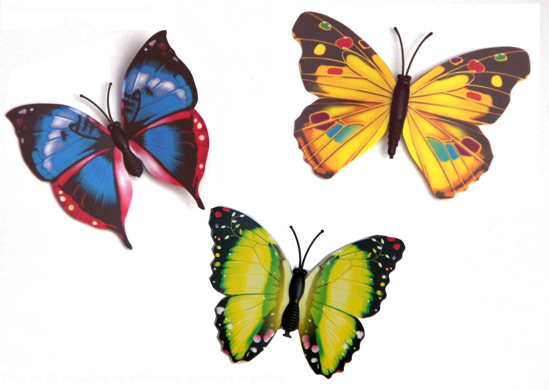 3 papillons magnétiques