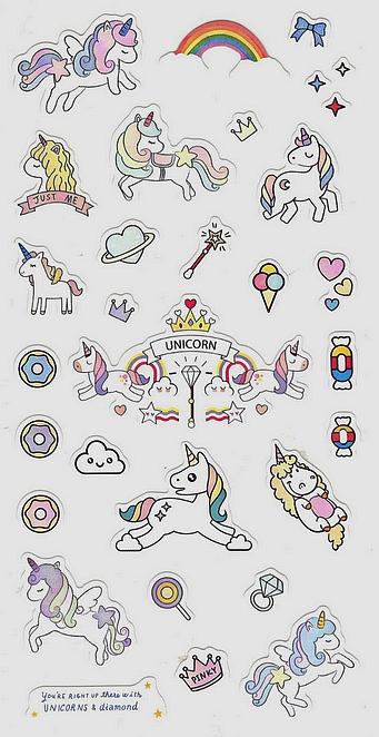 30 Stickers Licornes et Diamants