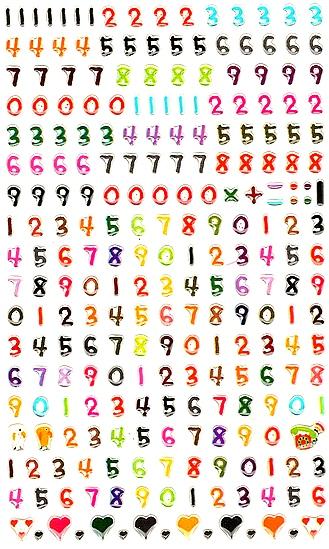 244 Gommettes Petits Chiffres 3D