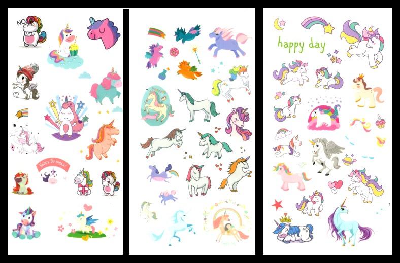 Lot de 100 stickers Licornes Kawaï sur 6 feuilles
