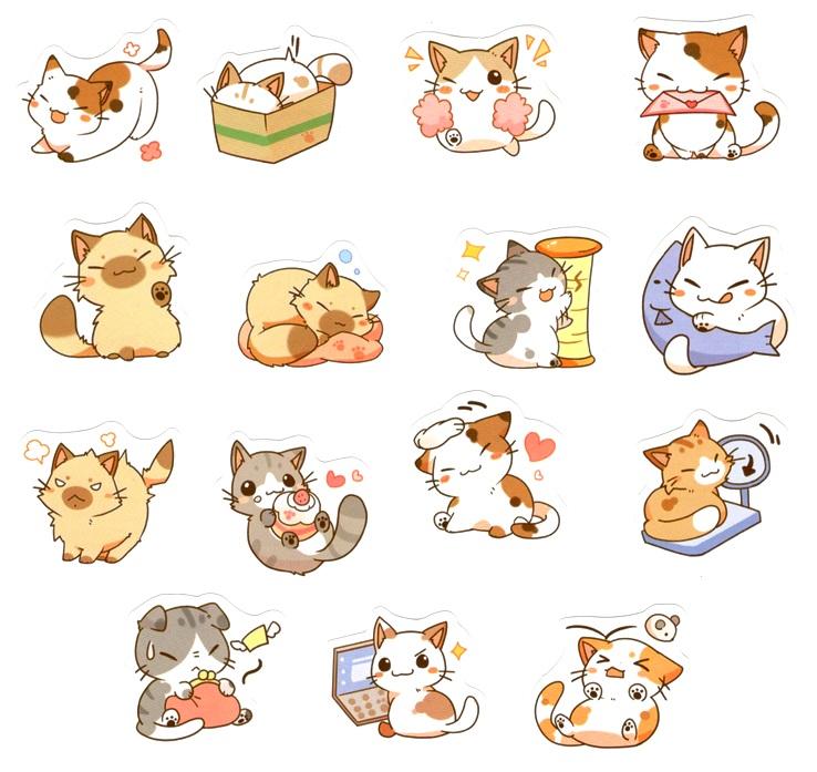 Boite de 45 Stickers Chats Kawaï Coquins