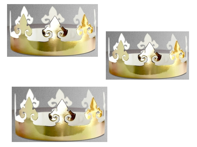 3 couronnes des Rois en carton doré à décorer