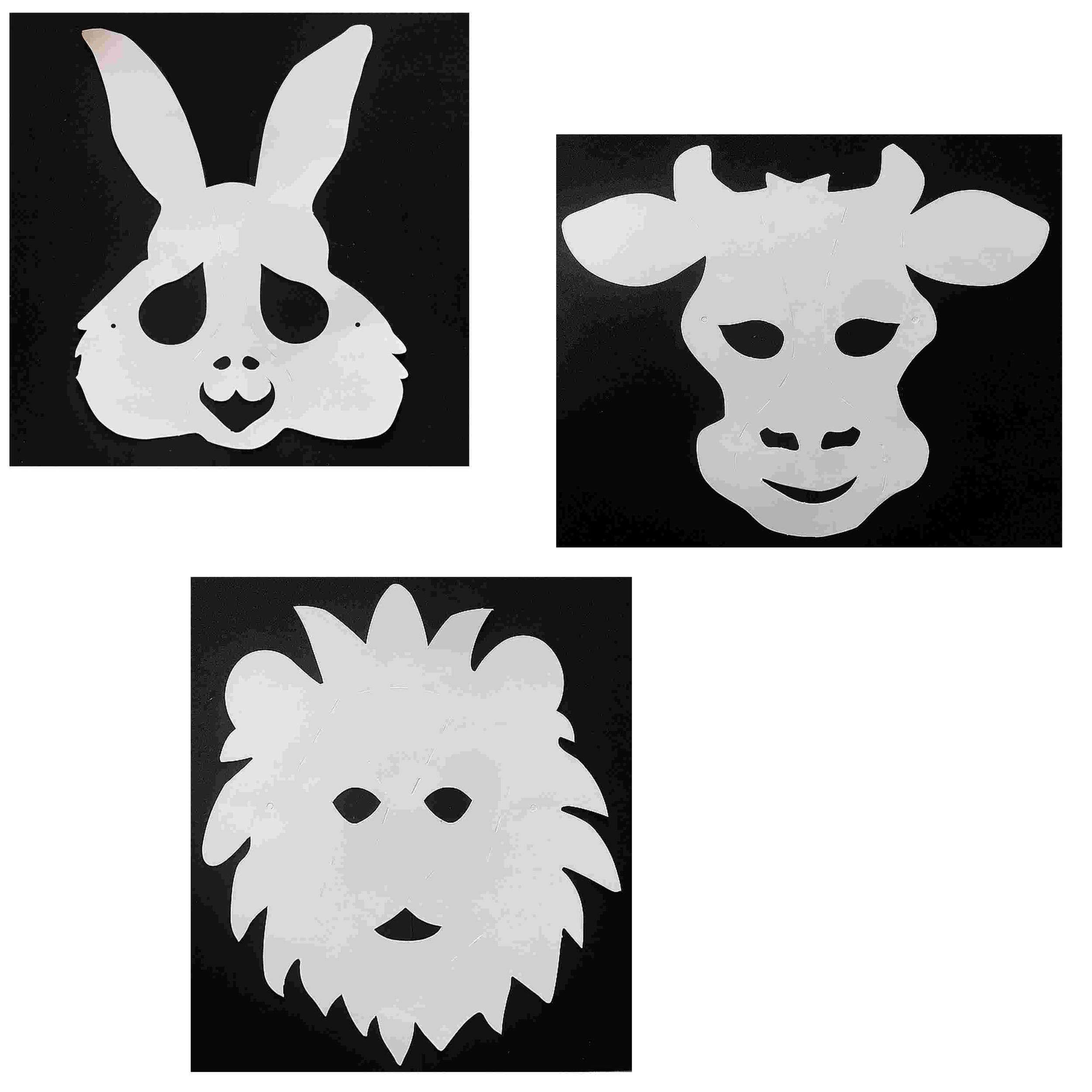 3 Masques Animaux à décorer avec des gommettes - Lion - Taureau - Lapin