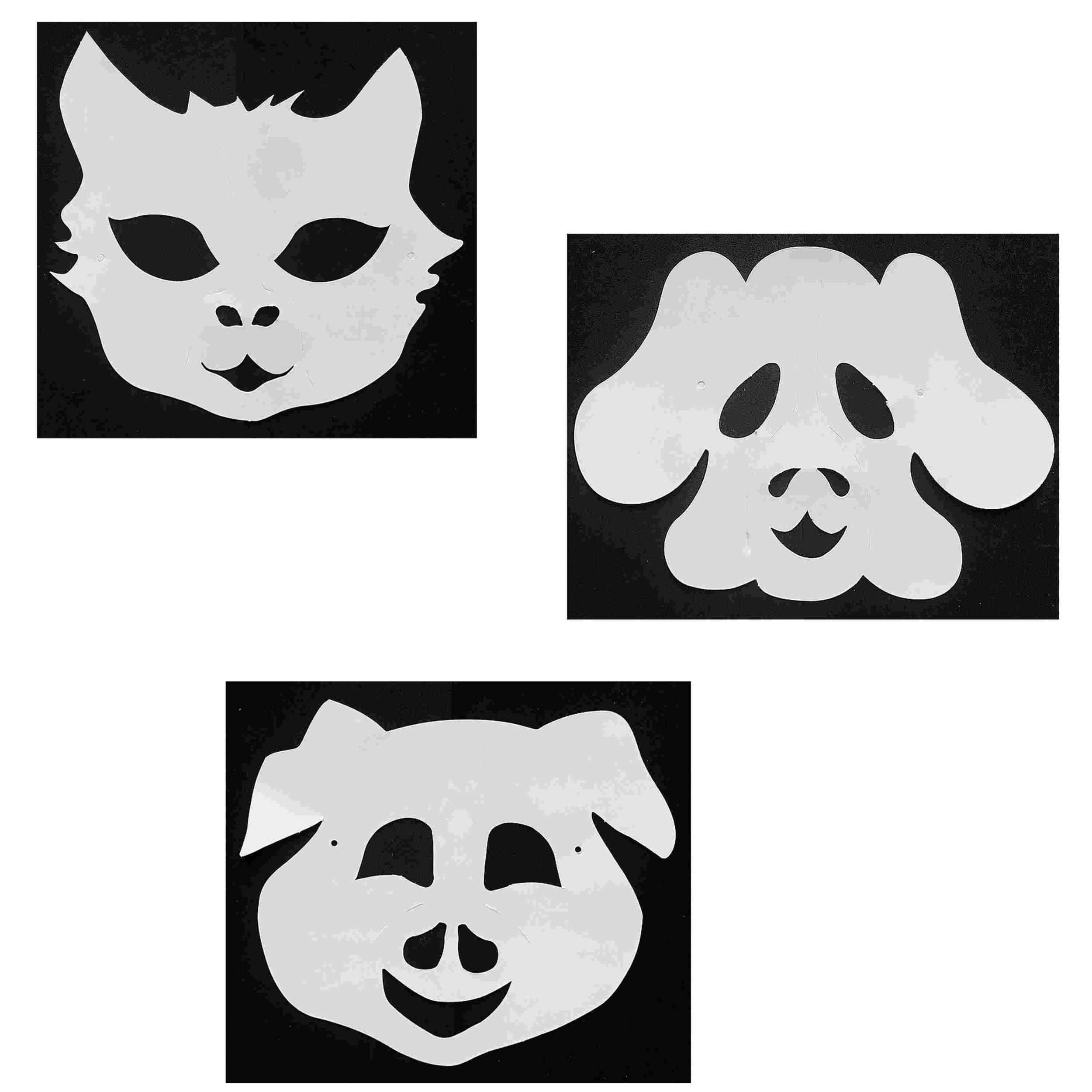 3 Masques Animaux à décorer avec des gommettes - Chat - Chien - Cochon