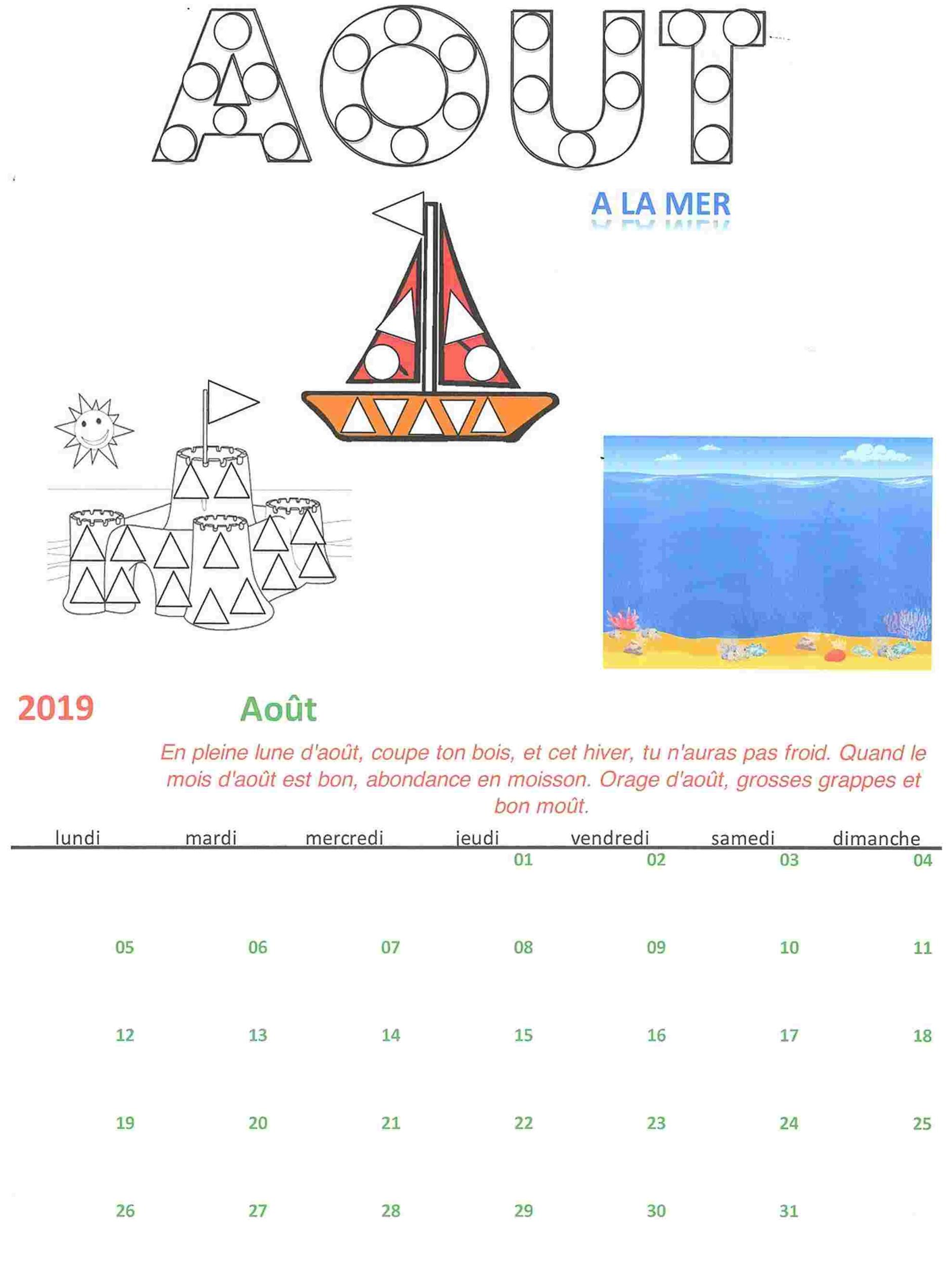 Calendrier Du Mois D Aout 2020.Kit Bricolage Calendrier Mensuel Aout 2020
