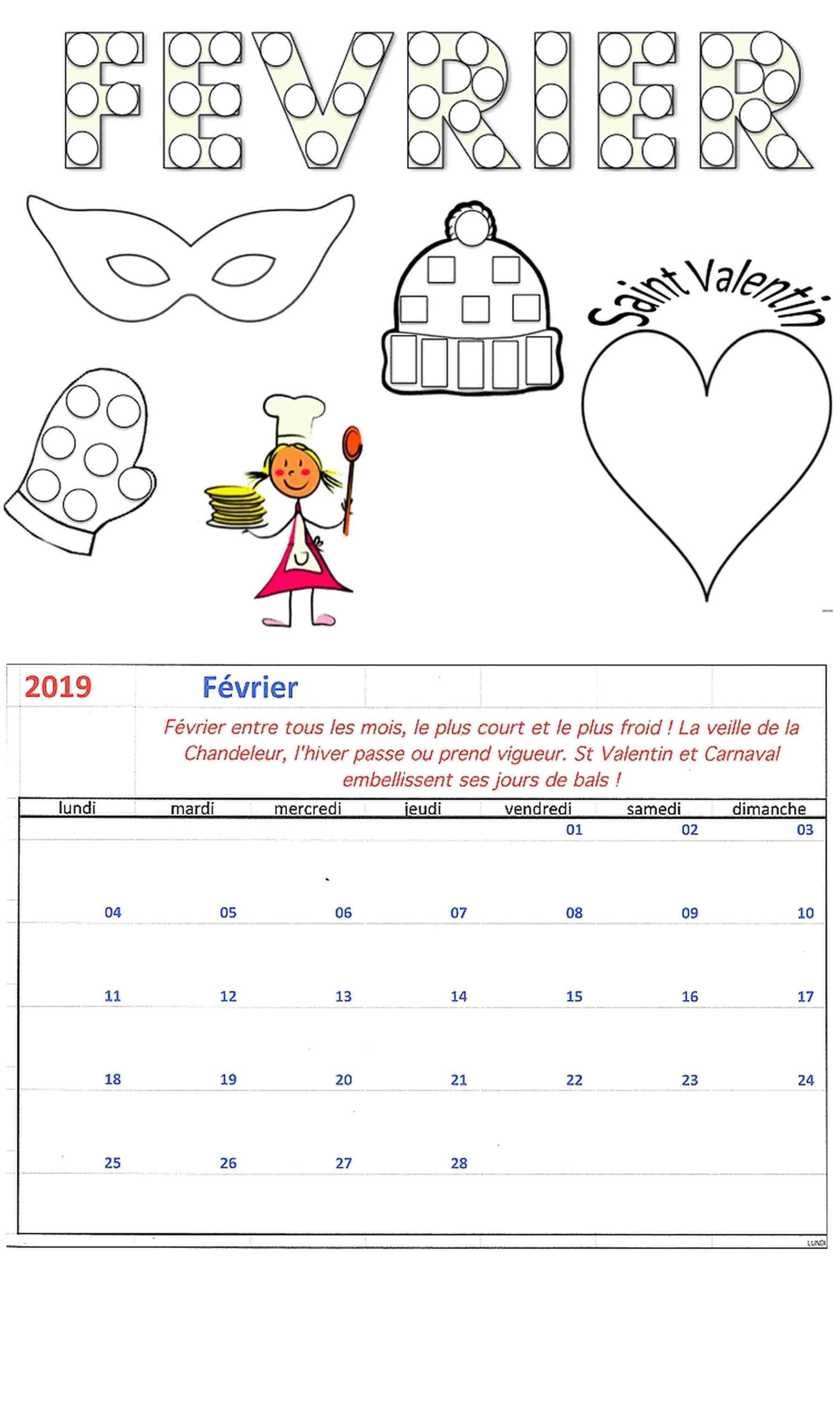 KIT Bricolage Calendrier mensuel FEVRIER 2021   Loisirs Créatifs