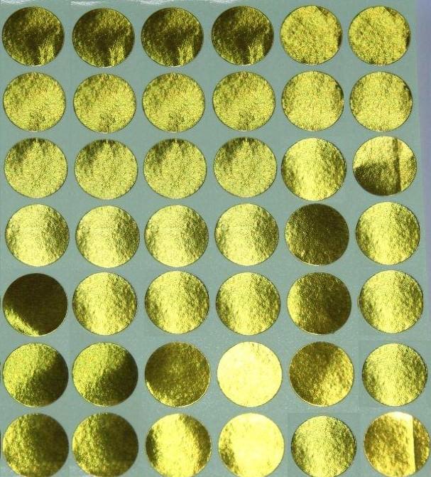 30 Gommettes rondes métallisées 19 mm Or