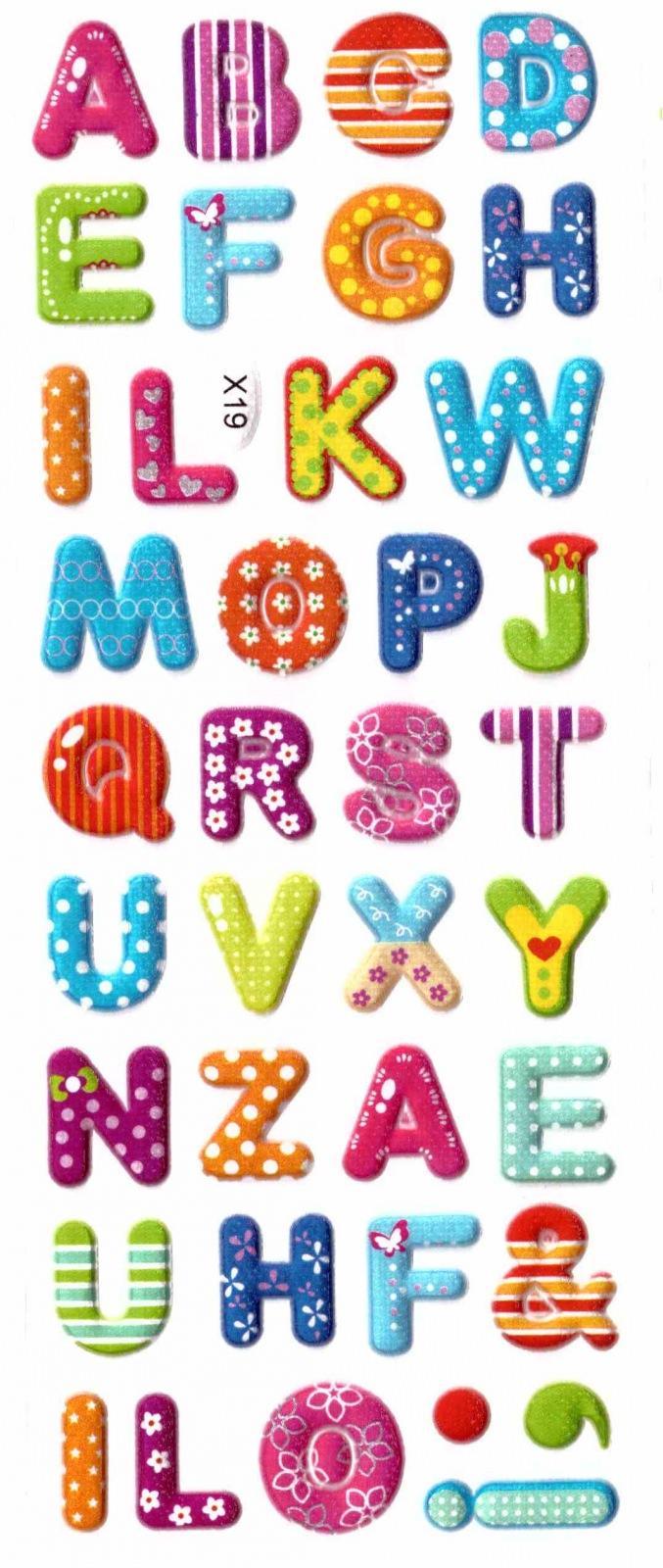 Gommettes alphabet paillettes 3d gommettes enfants - Lettres alphabet originales ...