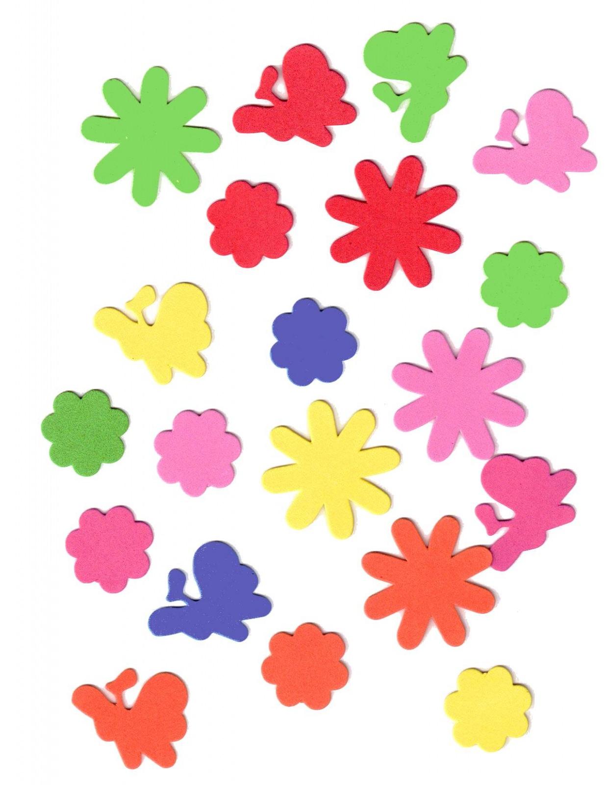 45 Gommettes Mousse Autocollante Fleurs et Papillons