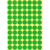 70 Gommettes rondes Vertes 19mm