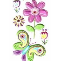 Stickers 3D Fleurs et Strass 22.5x9cm
