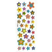 etoiles multicolores gommette adhesive sticker autocollante decoration scrapbooking rigide JF 1332