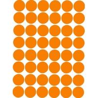 48 gommettes autocollantes orange 25mm