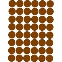 48 grosses gommettes rondes autocollantes marron 25mm