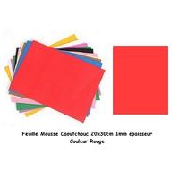 Feuille Mousse Caoutchouc Epaisseur 1mm Rouge 24x24mm
