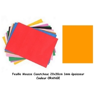 Feuille mousse EVA 1 mm 24 cm X 24 cm Orange