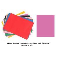 Feuille Mousse Plastique Rose 1mm 24x24mm