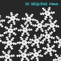 20 sequins flocon de neige 24mm