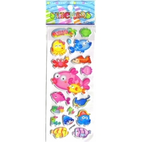 ocean poisson crabe mignons decoration scrapbooking enfant gommette autocollante sticker adhesif rigide emb JF 1290