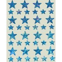 40 Gommettes Etoiles Irisées Bleu 1,2 et 2,2cm