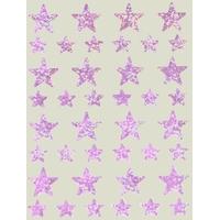 40 Gommettes Holographiques Etoiles Rose Pale 1,2 et 2,2cm