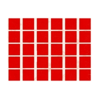 30 gommettes carré rouge 2x2cm