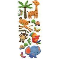 Stickers 3D Paillette Petit Zoo 22x9cm