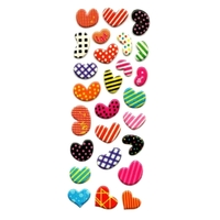 Stickers 3D Coeurs Peps: 17cmx7cm