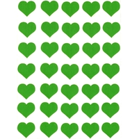 35 gommette coeur vert 2,5cm