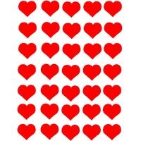35 gommettes coeurs amour rouge 2,5cm