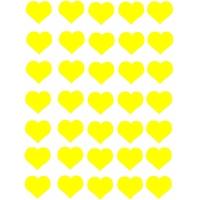 35 Gommettes Cœurs jaunes 25mm