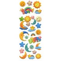 28 stickers Lunes et soleils 3D Paillettes