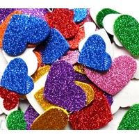 12 cœurs en mousse pailletés