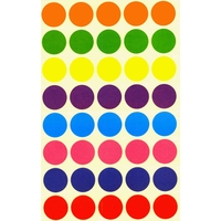 40 Gommettes multicolores rondes mates 25mm
