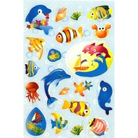 20 stickers Poissons Tropicaux