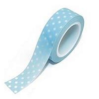 Masking Tape bleu pale et pois blancs 10m x15mm