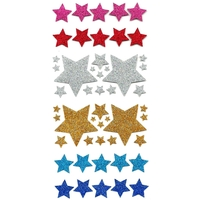 50 stickers paillettes étoiles