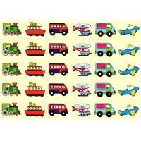 30 gommettes Locomotives, Bateaux et Helicopteres