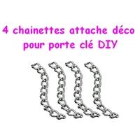 4 chaînettes pour porte clé-accroche breloques
