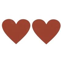 2 coeurs textes à gratter rouges - 8 cm sur 7 cm