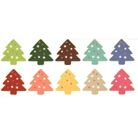 10 grosses gommettes Sapins multicolores