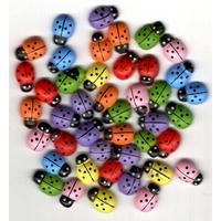 20 coccinelles multicolores en bois