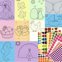 """10 tableaux A4 et 1264 gommettes-Kit Gommettes """"MAXI"""""""