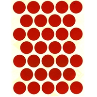32 gommettes rondes rouges effet Laser 19 mm