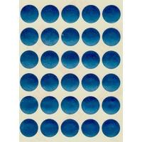 30 gommettes bleues rondes effet laser 19 mm