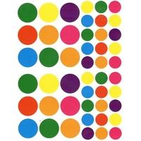 48 gommettes rondes multicolores 20 mm et 30 mm