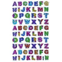 66 stickers Alphabet coloré et brillant