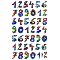 42 Gommettes Chiffres colorés et brillants